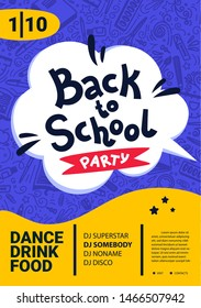 Back to school party poster. Back to school text, date and place for text. Vector illustration.