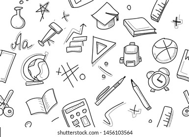 Back To School Pattern Background, set of different drawings related to the school. Graphic by hand. Back to school Vector Pattern. Back to school wallpaper. Back to schools background.