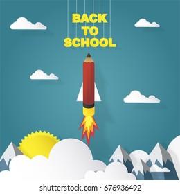 back to school, pencil rocket concept