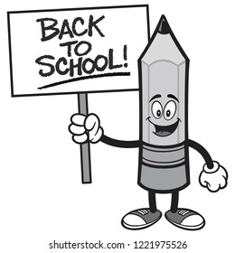 Back to School Pencil with a Sign - A vector cartoon illustration of a Pencil holding a handwritten Back to School sign.