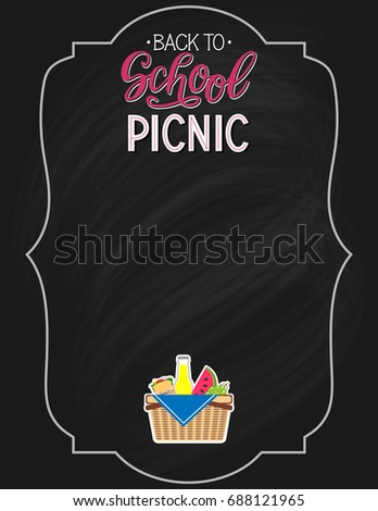 back school picnic announcement template chalkboard stock vector