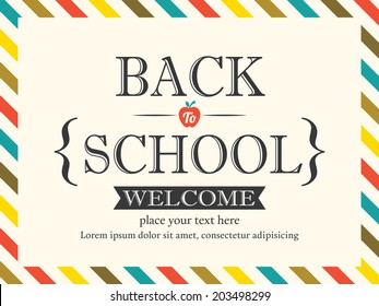 Back to School postcard background vector template