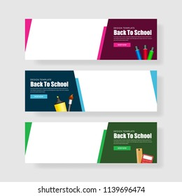 Back to school poster banner design with colorful funny school characters a, education items and space for text in a background. Vector illustration