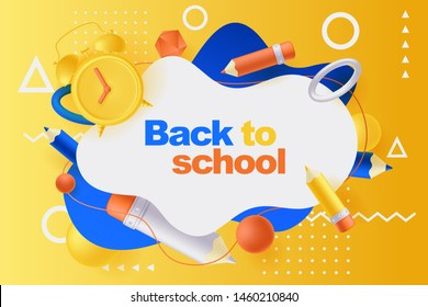 Back to school poster, banner design template. Vector 3d illustration of multicolor pencils, alarm clock, plastic geometric shapes flying around abstract white frame. Education modern background.