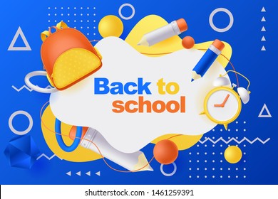 Back to school poster, banner design template. Vector 3d illustration of backpack, pencils, alarm clock and geometric shapes flying around white frame. Education modern blue gradient background.