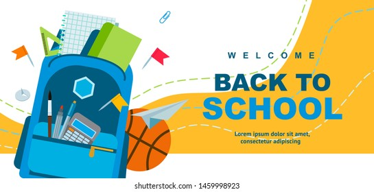 Back to school poster design. Backpack, pen and school supplies on a colorful background. Vector illustration can be used for web banner, advertising, signs. Student bag with cool accessories