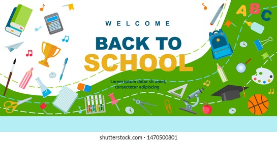 Back to school poster design. Backpack, pen and school supplies on a colorful background. Vector illustrations can be used for web banner, advertising, signs. Student bag with cool accessories