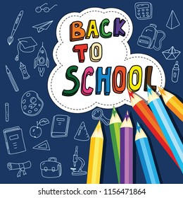 Back to school, poster with doodles drawn by hand, set of school icons, banner, invitation cards, cartoon style, vector, isolated