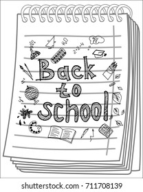 Back to School poster with doodles on notebook background. Vector illustration.
