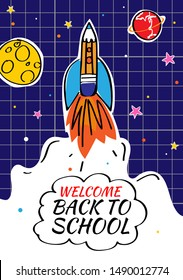 Back to school poster with doodles rocket and space background. Vector illustration for banners invitation banner and website