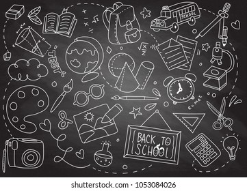 Back to School poster with doodles,Good for textile fabric design, wrapping paper and website wallpapers. Vector illustration.drawing with chalk on chalkboard background.