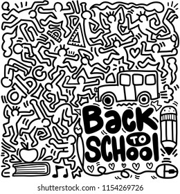 Back to School poster with doodles,Good for textile fabric design, wrapping paper and website wallpapers. Vector illustration.
