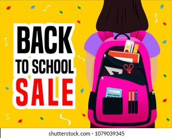 back to school poster with girl student