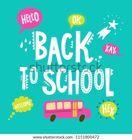 Back School Poster Hand Drawn Lettering Stock Vektorgrafik