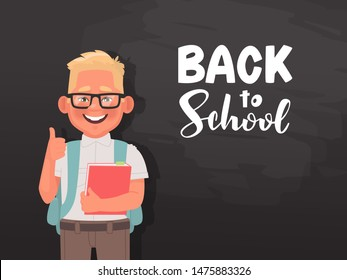 Back to school. A poster with a schoolboy and an inscription for decorating the holiday. Elementary school student on the background of the blackboard. Vector illustration in cartoon style