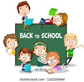 Back to school poster with smiling little children. Pupils of primary school with books near chalkboard. Happy girls and boys cartoon personages. Cute preschool children characters vector illustration