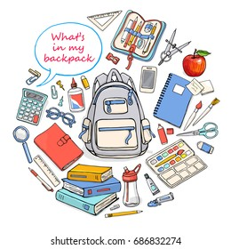 Back to school poster with stationary and backpack for design. Vector illustration