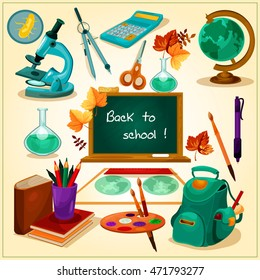 Back to School poster. School supplies and stationery vector icons and elements. Green blackboard, globe, backpack, books, microscope, watercolor paints for welcome banner, shop sale banner