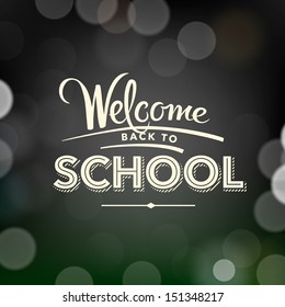 Back to school poster with text on chalkboard, vector illustration.