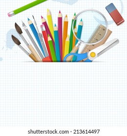 Back to school poster vector background with place for text. isolated from background. layered.