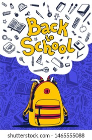 Back to school poster. Yellow Backpack, school supplies and back to school text on violet background. Vector illustration