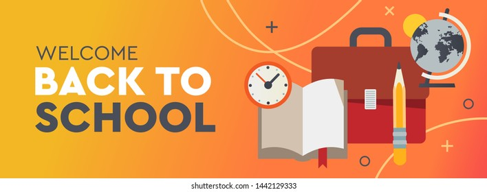 Back to School promo horizontal banner. Vector illustration for poster, web, landing page, cover, ad, greeting, card, social media, promotion.