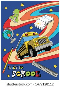 Back to School Psychedelic Art Style Poster, Yellow School Bus, Globe, Book, Pencil, Rule, Rainbow Illustration