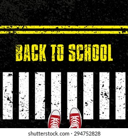 Back to school, Road safety concept with sneakers