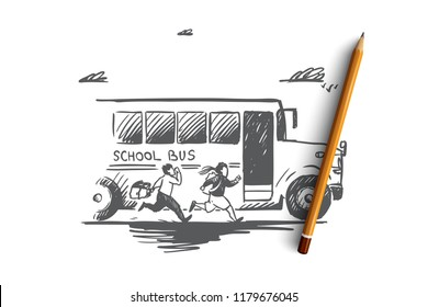 Back to school, rush, purpose, first of September concept. Hand drawn school bus with pupils concept sketch. Isolated vector illustration.