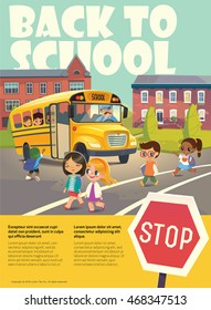 Back To School Safety Concept. Kids riding on the school bus. Vector illustration.