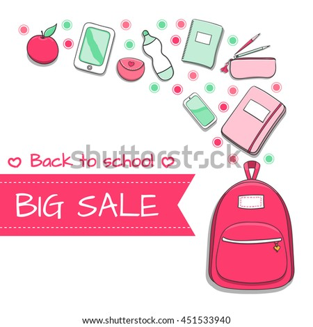 aed217422f Back to school SALE background with hand drawn doodle school supplies –  backpack