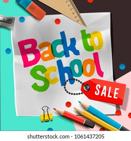 Back to school Sale banner design with lettering and school supplies, vector illustration