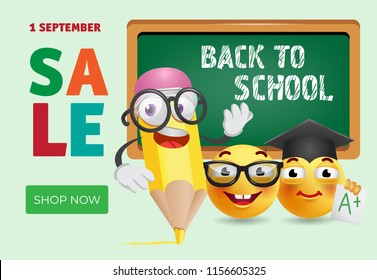 Back to school sale banner design with cartoon pencil, smart emotions and chalkboard. Text can be used for signs, posters, flyers, leaflets, promo offers