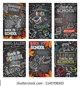 Back to school sale banner on chalkboard template set. School supplies, student stationery and education items chalk sketch on blackboard for discount offer poster and advertising flyer design