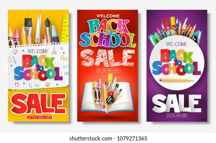 Back to School Sale Creative Ad Banner and Poster Set with Colorful Titles and Different School Items in Different Color Backgrounds for Promotional Purposes