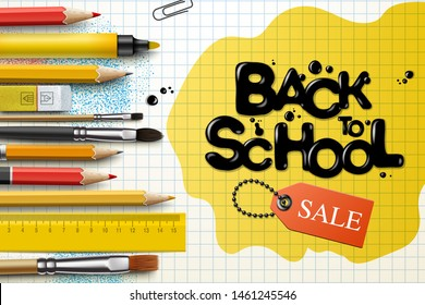 Back to school Sale design with pencils and typography lettering. Vector School illustration for poster, web, cover, ad, greeting, card, social media, promotion