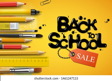 Back to school Sale design with pencils and typography lettering. Vector School illustration for poster, web, cover, ad, greeting, card, social media, promotion.