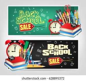 Back to School Sale Die cut Banners with Colorful School Elements. Vector Illustrator