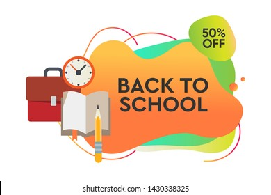 Back to school Sale. Dynamic style banner design with fluid gradient elements. Creative illustration for poster, web, landing, page, cover, ad, greeting, card, social media, promotion.