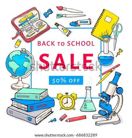 back school sale flyer template design のベクター画像素材