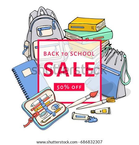 back school sale flyer template design stock vector royalty free