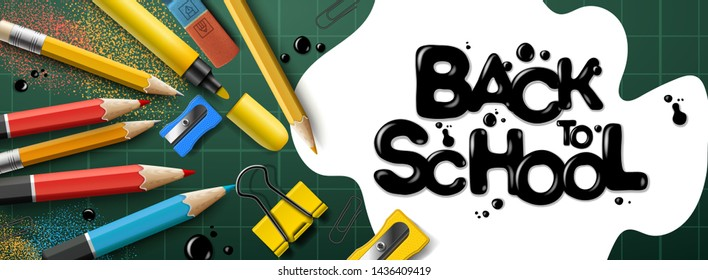 Back to school sale horizontal banner. First day of school, vector illustration.