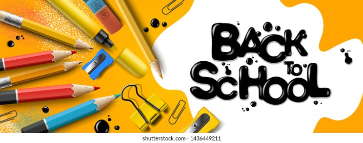 Back to school sale horizontal banner, yellow background. First day of school, vector illustration.