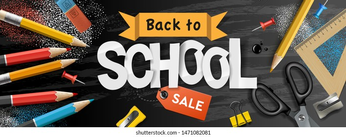 Back to school Sale horizontal banner, pencils and supplies on black chalkboard background, vector illustration.vector illustration.
