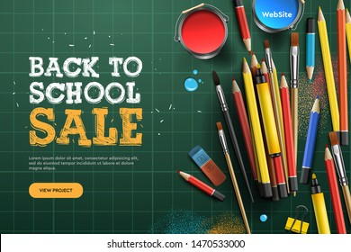 Back to school Sale. Landing page template. Vector illustration for banners invitation poster and website.