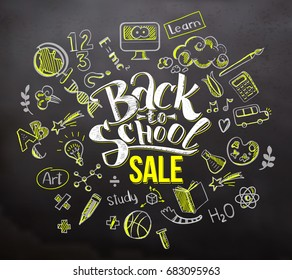 Back to school sale lettering in doodle circle frame on blackboard background. Hand drawn education sketch supplies. Typography back to school for business banners, posters
