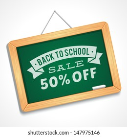 Back to school sale message on blackboard hand draw vector illustration