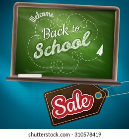 Back to school sale on the chalkboard. EPS 10 vector file included