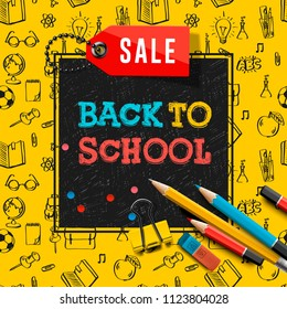 Back to school sale poster and banner with colorful title and elements in black and yellow background for retail marketing promotion and education related, vector illustration