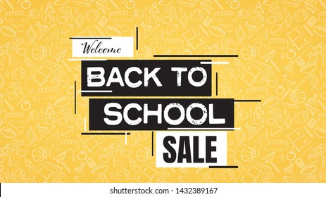 Back to school sale poster or banner with school supplies pattern in background. Shopping, discounts, offers promotion and advertising. Eps10 illustration.